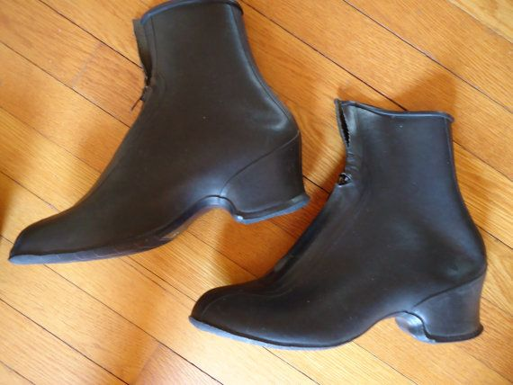 Women's vintage black rubber overshoes galoshes rain by RetroSewCo .