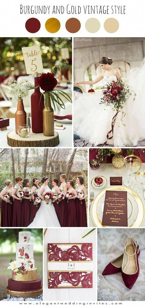 burgundy and gold glamorous vintage wedding color ideas | Red gold .