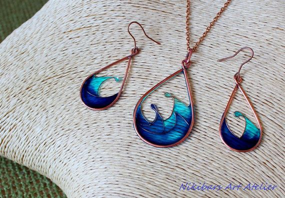 Blue Stained Glass Jewelry Copper Resin by NikibarsNatureArt .