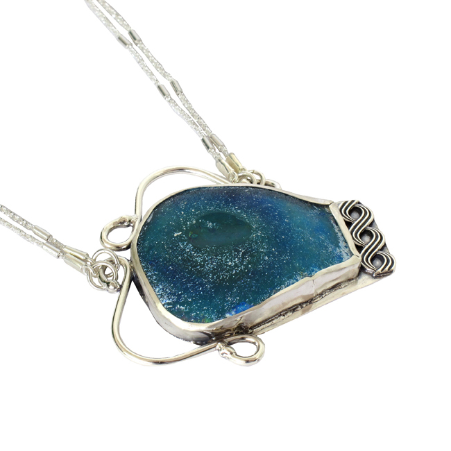 Adorable Handmade Ancient Roman Glass Necklace in 925 Silv