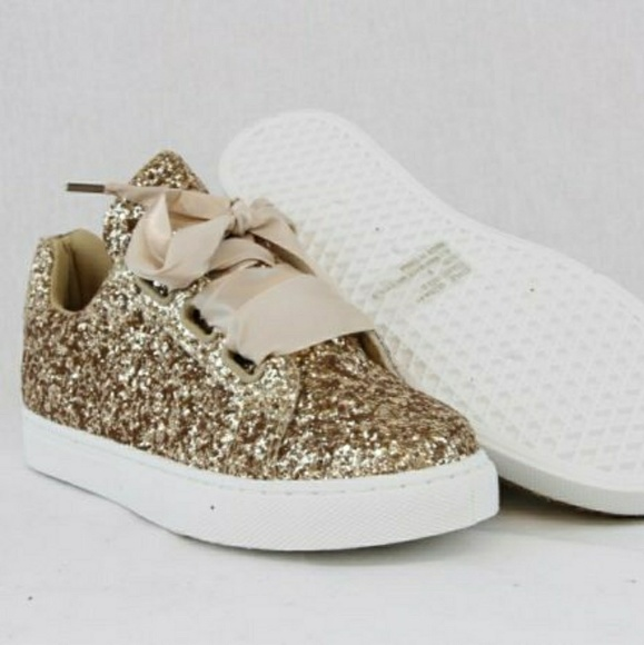 forever link Shoes | Women Sequin Glitter Sneakers Gold Size 8 .