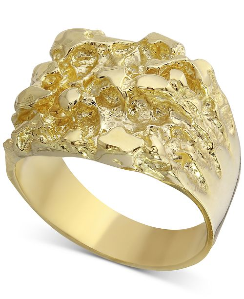 Macy's Men's Nugget Ring in 10k Gold & Reviews - Rings - Jewelry .