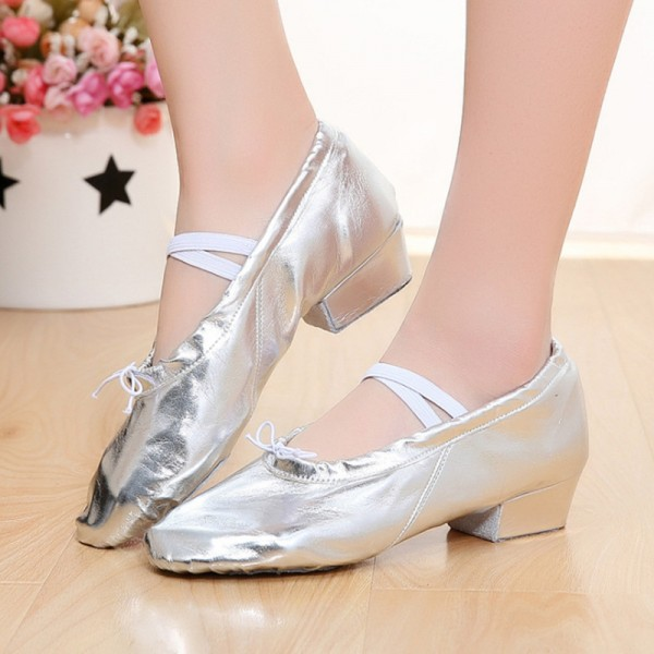 Children's jazz dance shoes girls PU leather belly dance adult .