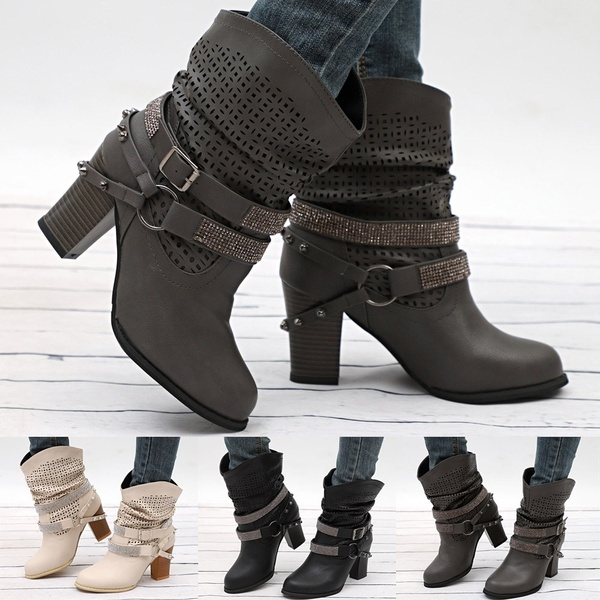 Women Autumn Winter Hollow Out Ankle Boots Ladies Heel Half Boots .