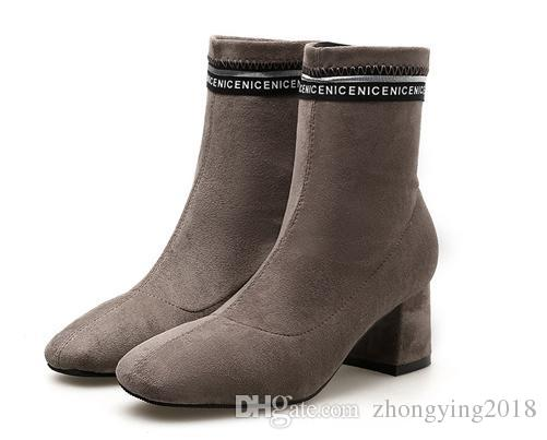 Womens Half Boots Women Suede Boots Khaki Black Pumps Lady Chunky .
