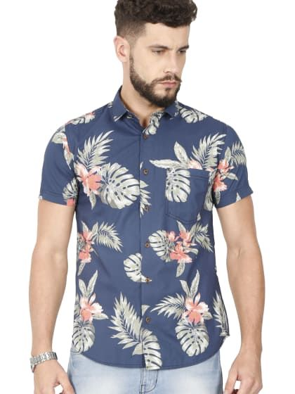 Blue Half Sleeve Casual Printed Shirt | Only on sourgrape.wooplr .