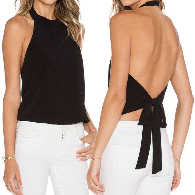 Halter Neck Open Back Tops | Backless top, Backless halter top .