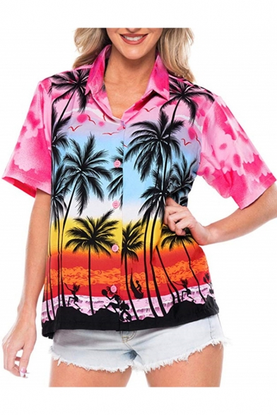 Womens Summer Holiday Tropical Coconut Print Short Sleeve Hawaiian .