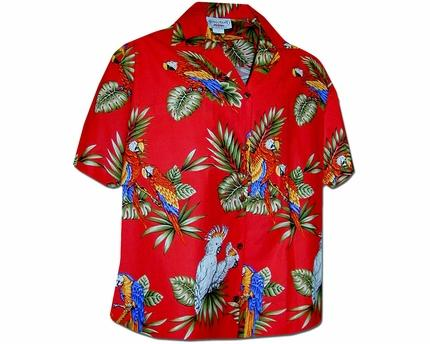 Macaws and Cockatoos Red Women's Hawaiian Shirt - AlohaFunWear.c