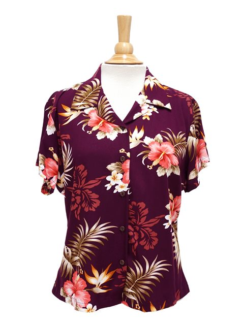 Two Palms Fern Hibiscus Purple Rayon Women's Hawaiian Shirt .