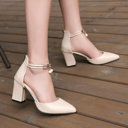 2019 new ladies high heels summer fashion sexy pointed leather .