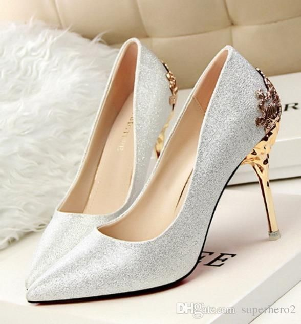 Womens High Heeled Suede Shoes Pumps Carved Metal Heel Pointed .