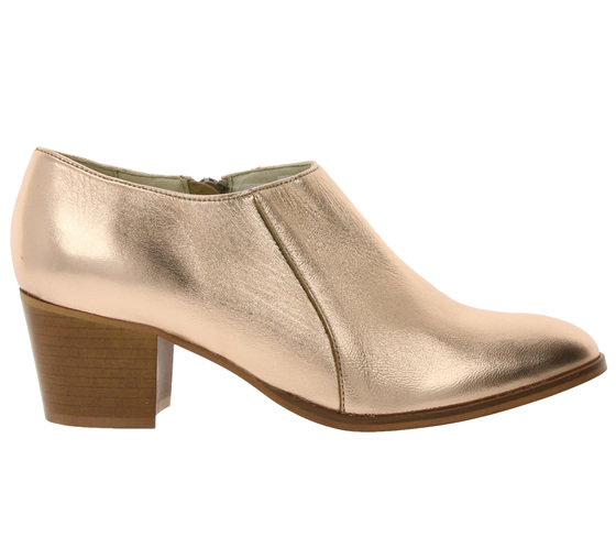 heine shoes stylish ladies high-front pumps in metallic look rose .