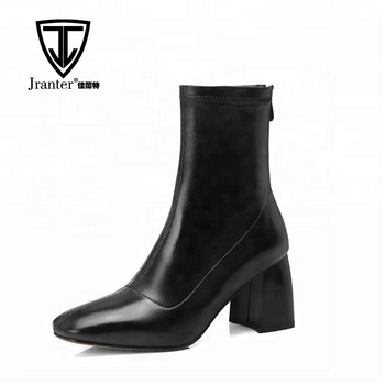 Square Toe Thick Block Heel Ankle Boots For Women - Buy Ladies .