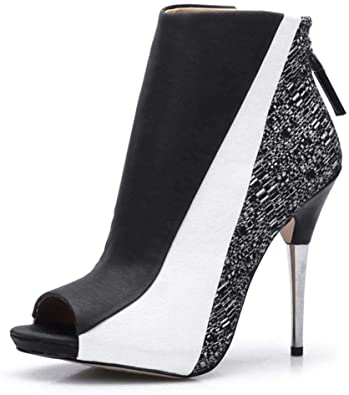 Amazon.com | CAMSSOO Women's Open Toe Stiletto Bootie Zipper High .