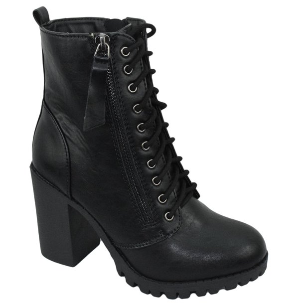 SODA - Malia Black Soda Riding Booties Women Chunky High Heel .
