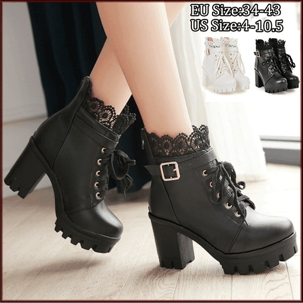 Autumn and Winter New Fashion Women's Thick High Heel Ankle Boots .