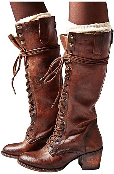 Amazon.com: Women's Fashion Over The Knee Heel Combat Boots .