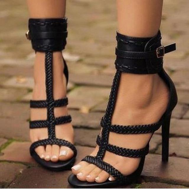 Women Pumps Gladiator Peep Toe Shoes Casual Thin Heel Buckle Strap .