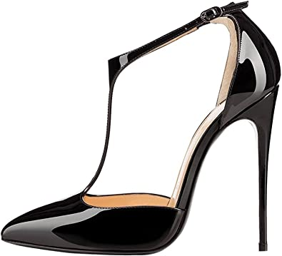 Amazon.com | Sammitop Women's Pointed Toe High Heel Pumps T-Strap .