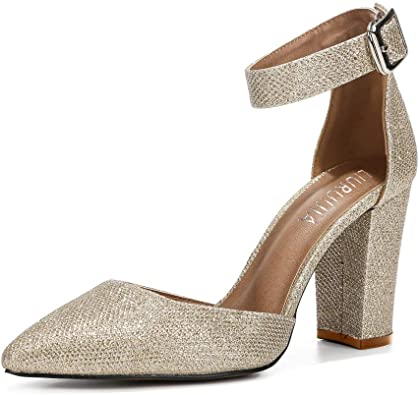 Amazon.com | Women's Ankle Strap Pointed Toe Chunky Block High .