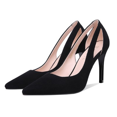 Women Black High Heels, Classic Pointed Toe Stiletto High-heel .