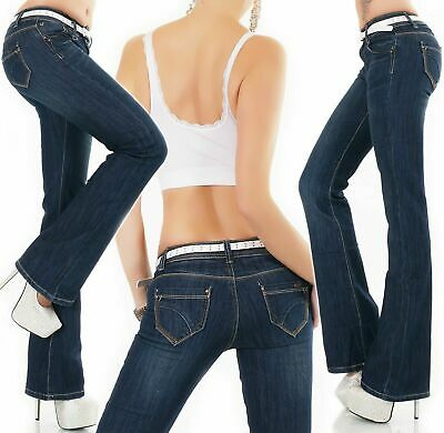 Womens Stretch Denim Bootcut Hipster Jeans Blue faded UK 6 8 10 12 .