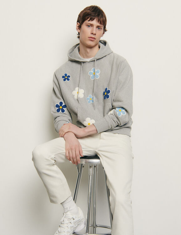 Hoodie with embroidered patch - Sweatshirts | Sandro Par