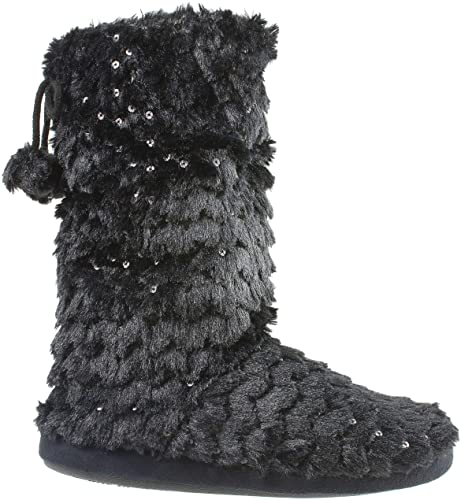 Amazon.com | Women's Bootie Slippers Pom Poms Metallic Sequin .