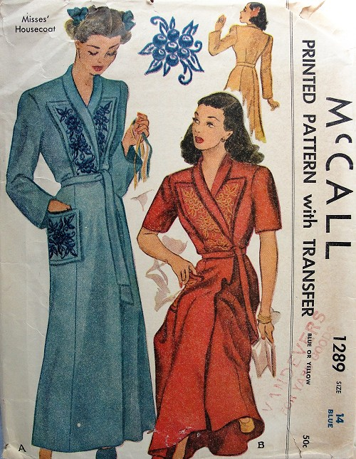 1940s BEAUTIFUL Housecoat Robe Brunch Coat Pattern McCALL 1289 Two .