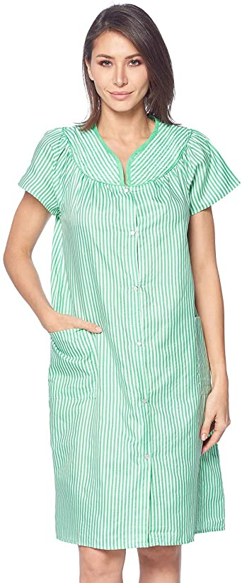 Casual Nights Women's Snaps Front Closure House Dress Short Sleeve .