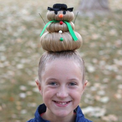 Snowman Hairstyle for Crazy Hair Day (or Christmas) | Crazy hair .