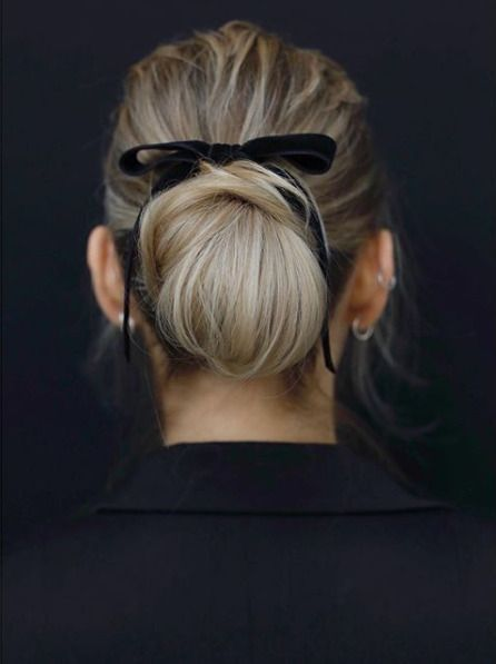 Classic thin black velvet bow. Hair Inspiration: The bow chic bun .