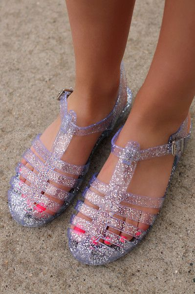 Be Jelly Flats - Clear Glitter | Women's jelly sandals, Jelly .