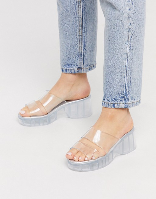 ASOS DESIGN Favorite chunky double strap 90s jelly sandals in .