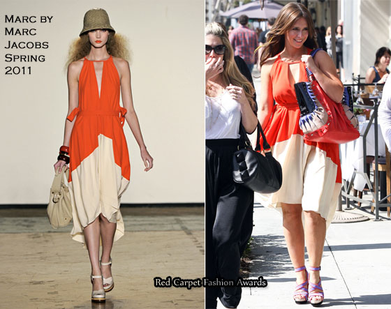 Sidewalk Style: Jennifer Love Hewitt In Marc by Marc Jacobs - Red .