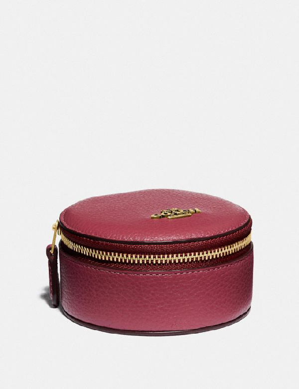 Coach Round Jewelery Case - Women's In Brass/dusty Pink | ModeSe