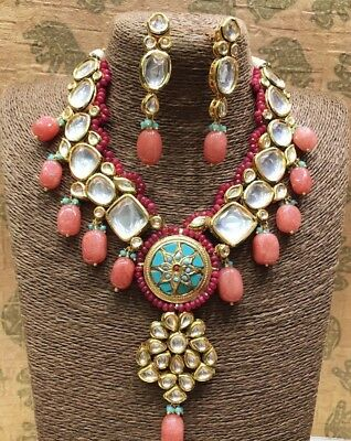 Indian Bollywood Polki Bridal Jewelery Designer Kundan Gold Plated .