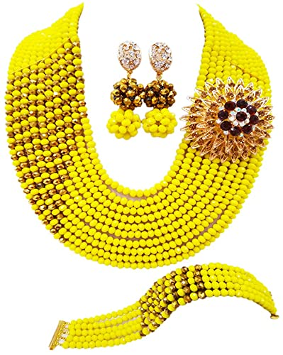 Amazon.com: Nigerian Wedding African Beads Yellow and Gold Plated .