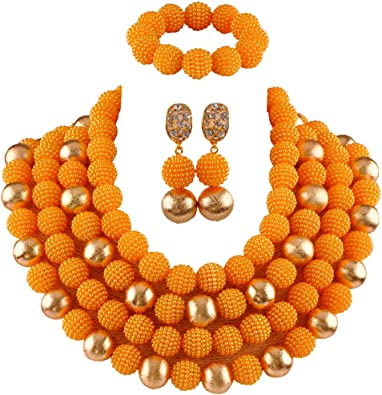 Amazon.com: African Jewelry Sets Nigeria Beads Women's 4 Rows Gold .