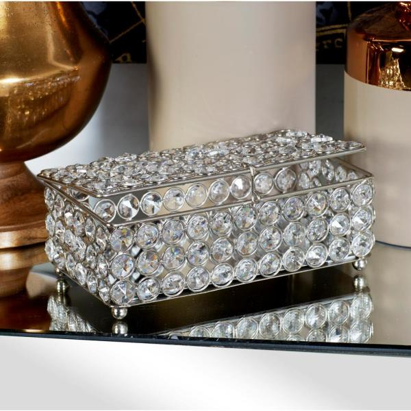 Litton Lane Metallic Silver Jewelry Box with Crystal Accents-54241 .