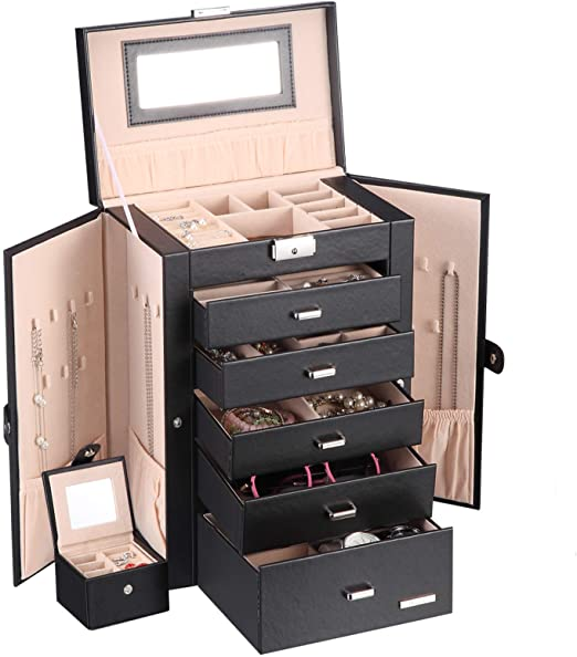 Amazon.com: Homde 2 in 1 Huge Jewelry Box/Organizer/Case Faux .