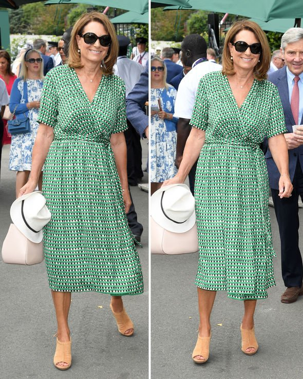 Carole Middleton style: Kate Middleton's mum wears a green midi .