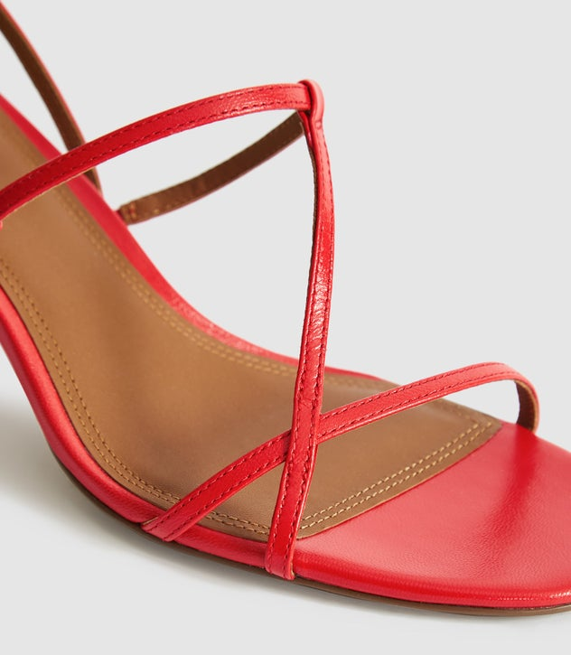 Ophelia Red Leather Strappy Kitten Heels – REI