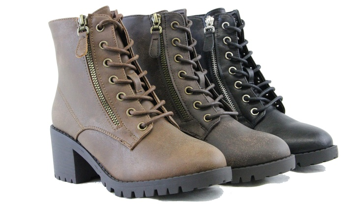Up To 66% Off on Women Combat Ankle Boots Chun... | Groupon Goo