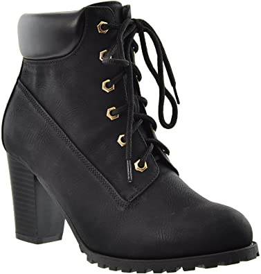 Amazon.com | KS & CO Womens Ankle Boots Lace Up Stacked Heel Ankle .