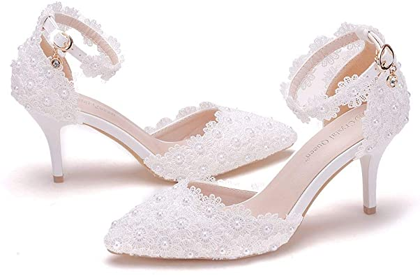 Amazon.com | Women High Heels Sandals White Lace Pearls Wedding .