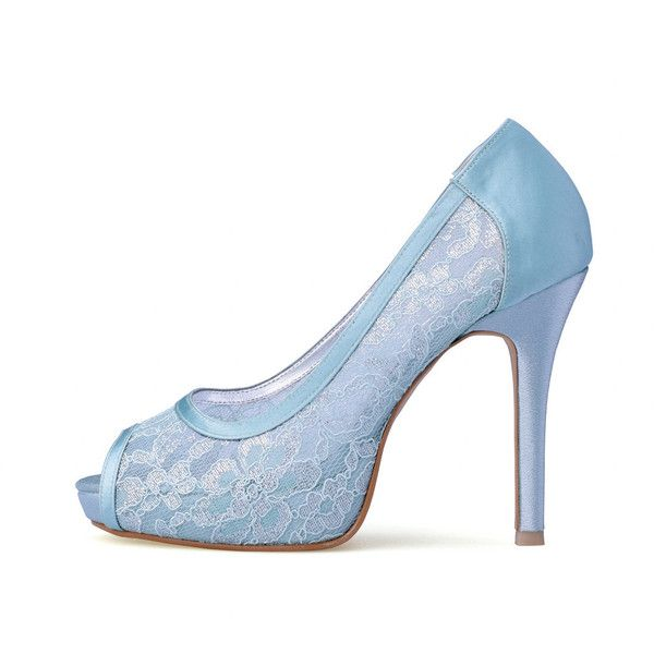 Something Blue Wedding Heels Blue Lace Bridal Peep Toe Heels .