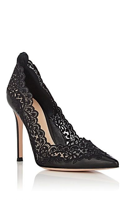 Gianvito Rossi Evie Leather & Lace Pumps - Heels - 505861734 .