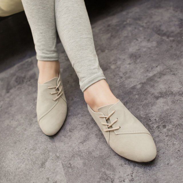 Casual Women Shoes Women Nubuck Leather lace Up Flat Shoes .